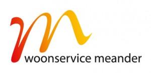 Logo Woonservice Meander rood-geel|zwarte tekst|RGB